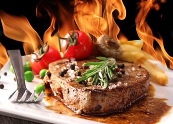 News Steak mit Feuer